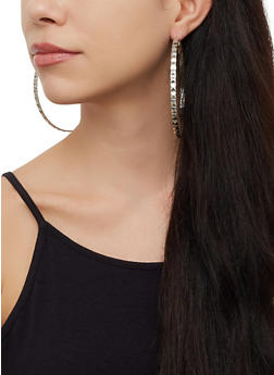 Oversized Textured Hoop Earring Trio - 3123073841353