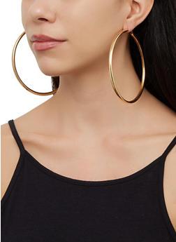 Oversized Textured Hoop Earring Trio - 3123073841353