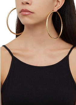 Textured Metallic Glitter Hoop Earring Trio - 3123073841368