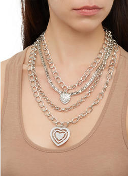Glitter Heart Chain Layered Necklaces with Earrings - 3123073844741