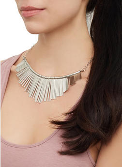Glitter Stick Necklace with Bangles and Drop Earrings - 3123073844998