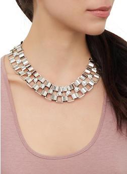 Rhinestone Metallic Necklace Cuff Bracelet and Hoop Earrings - 3123073845745