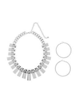 Glitter Metallic Stick Necklace with Hoop Earrings - 3123073846005