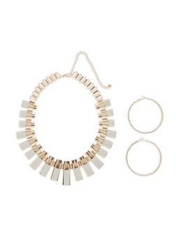Glitter Metallic Stick Necklace with Hoop Earrings - 3123073846005