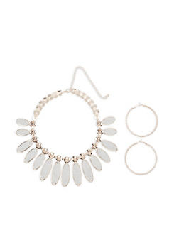 Glitter Statement Necklace with Hoop Earrings - 3123073846009