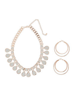 Glitter Collar Necklace with Hoop Earrings - 3123073846013