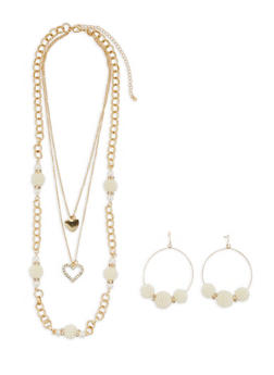 Faux Pearl Charm Necklace with Hoop Earrings - 3123073846196