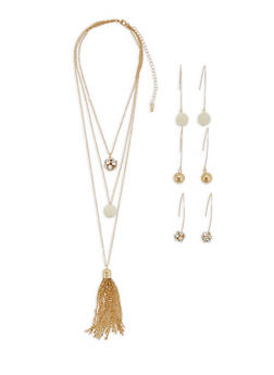 Layered Charm Necklace with Threader Earrings Set - 3123073846197