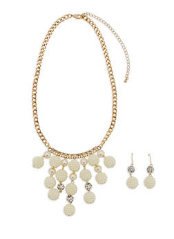 Faux Pearl Necklace and Matching Earrings Set - 3123073846198