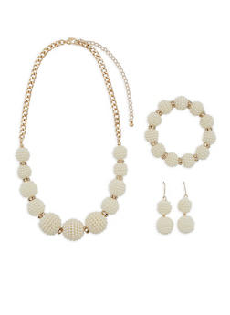 Faux Pearl Ball Necklace with Bracelet and Earrings - 3123073846200