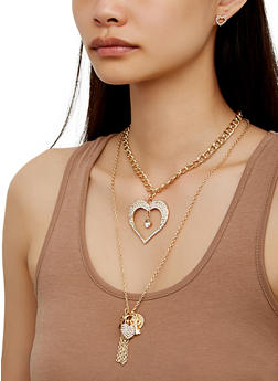 Heart Layered Chain Necklace and Earrings - 3123073846522