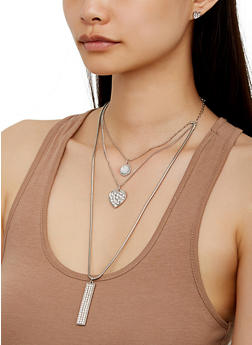 Heart Charm Trio Layered Necklace and Stud Earrings - 3123073846880