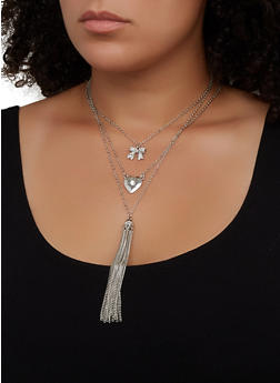 Layered Tassel Necklace and Stud Earring Trio - 3123073846881