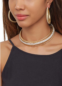 Rhinestone Metallic Coil Collar Necklace and Hoop Earrings - 3123073846901