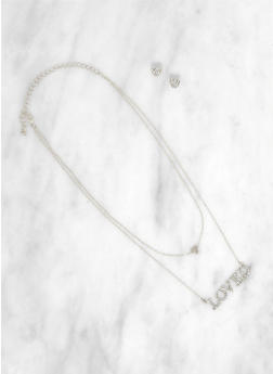 Loved Layered Necklace with Heart Earrings - 3123073847033