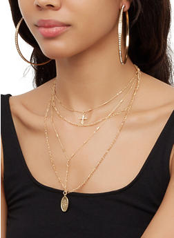 Layered Religious Necklace with Hoop Earring Trio - 3123073847492