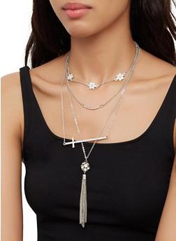 Metallic Flower Tassel Necklace with Stud Earrings - 3123073848477