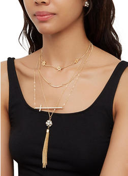 Metallic Flower Tassel Necklace with Stud Earrings - 3123073848477