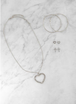 Rhinestone Heart Necklace and Assorted Earring Trio - 3123073849378