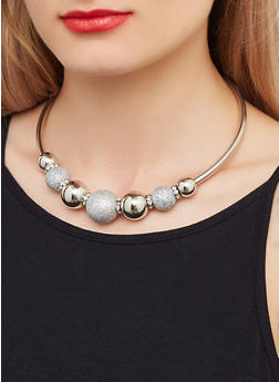 Glitter Ball Collar Necklace and Drop Earrings Set - 3123074140112