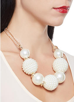 Large Faux Pearl Collar Necklace with Earrings - 3123074140397