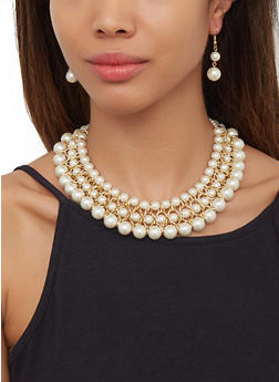 Woven Chain Faux Pearl Necklace and Drop Earrings - 3123074141004