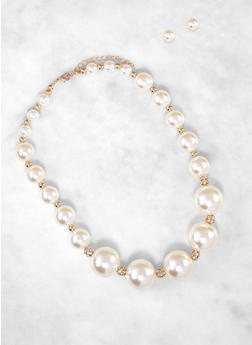 Faux Pearl Necklace and Stud Earrings - 3123074141008