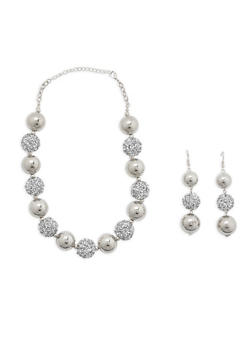 Rhinestone Encrusted Necklace and Earrings - 3123074141260