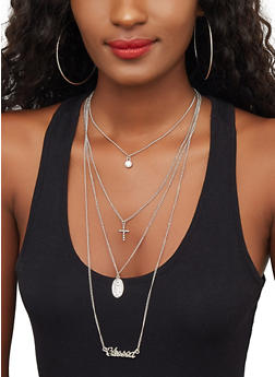 Layered Blessed Charm Necklace with Hoop Earrings - 3123074141462