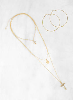 Layered Religious Necklace and Hoop Earrings Set - 3123074141464