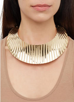 Hammered Metallic Collar Necklace - 3123074141600