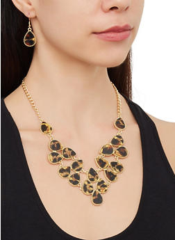 Leopard Statement Necklace with Drop Earrings - 3123074141658