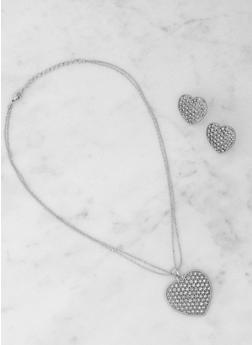 Rhinestone Heart Necklace and Earrings - 3123074143138