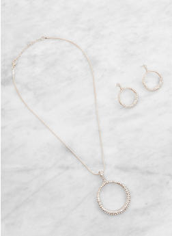Rhinestone Circle Necklace and Earrings - 3123074143139