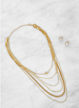 Layered Necklace with Rhinestone Stud Earrings - 3123074143140