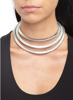 Flat Metallic Coil Necklace with Rhinestone Earrings - 3123074145255
