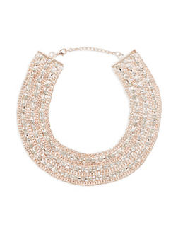 Rhinestone Chain Collar Necklace - 3123074146006