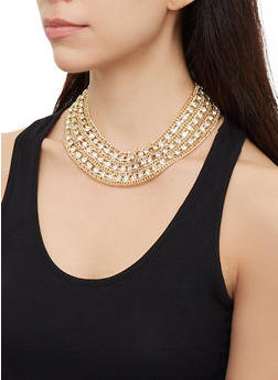 Rhinestone Chain Collar Necklace   3123074146096 - 3123074146096
