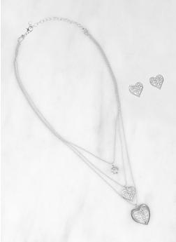 Heart Rhinestone Layered Necklace and Earrings - 3123074146157