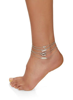 Set of 6 Love Charm Anklets - 3123074149361