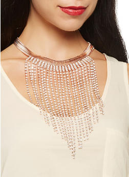 Rhinestone Fringe Necklace with Drop Earrings - 3123074171011
