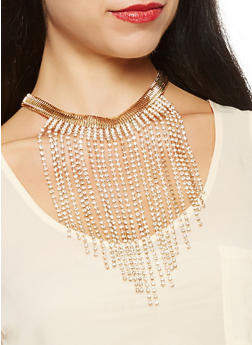 Rhinestone Fringe Necklace with Drop Earrings - 3123074171011
