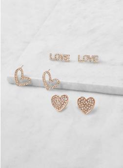 Love Rhinestone Stud Earring Trio - 3123074171032