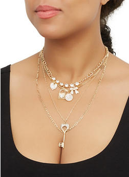Layered Rhinestone Key Charm Necklace and Stud Earrings - 3123074171062