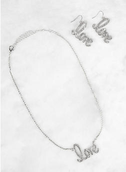 Love Charm Earrings and Necklace Set - 3123074171149