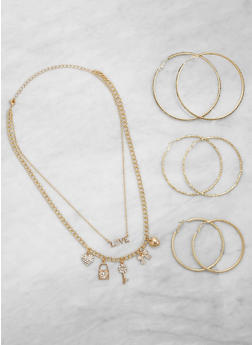 Love Charm Necklace with Hoop Earrings Trio - 3123074171310