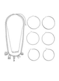 Rhinestone Chain Necklace with Hoop Earrings - 3123074171311