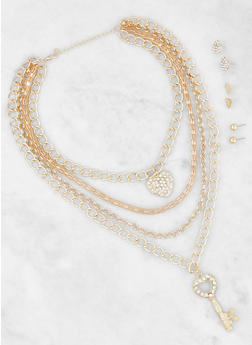 Layered Charm Chain Necklace with Earrings - 3123074171312