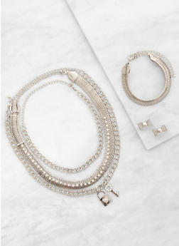 Metallic Necklaces with Bracelet and Earrings - 3123074171315