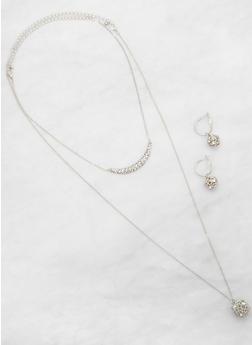Rhinestone Ball Necklace and Hoop Earrings - 3123074171319